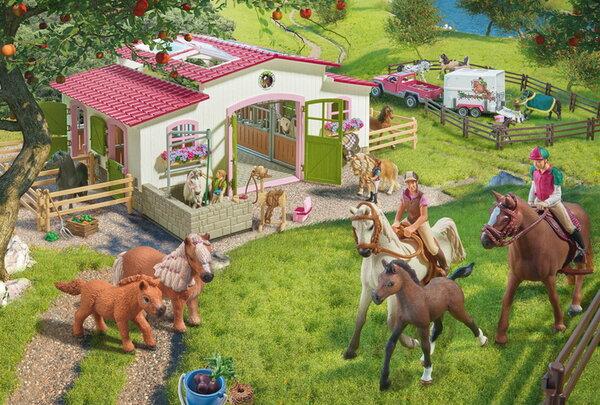 Пъзел Schmidt от 100 части - Конна езда във фермата, с 2 фигурки