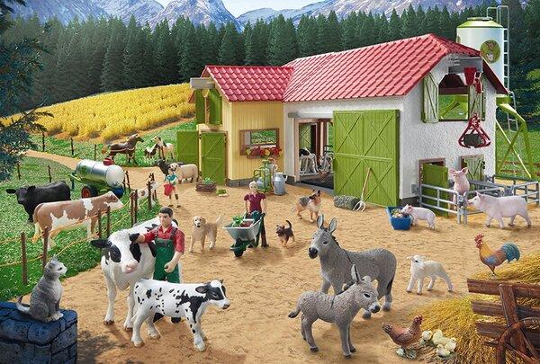 Пъзел Schmidt от 40 части - Ден във фермата, с 2 фигурки