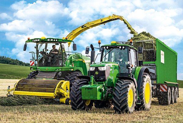 Пъзел Schmidt от 100 части - Трактор John Deere 6195M, с фигурка