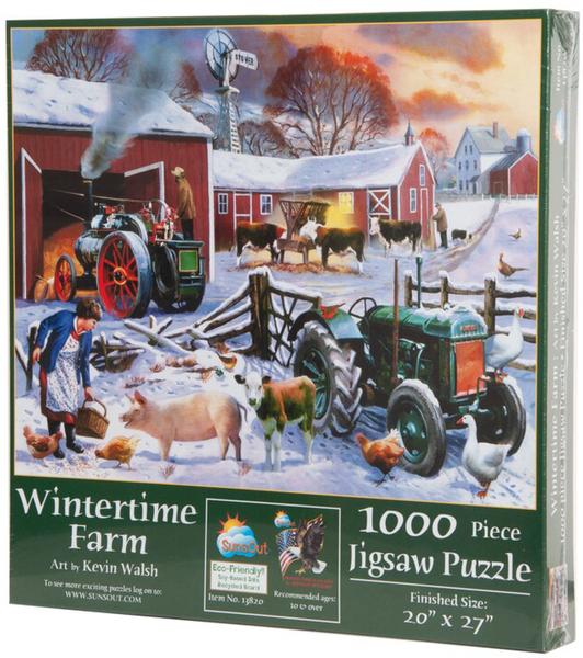Пъзел от 1000 части SunsOut - Зима във фермата, Кевин Уолш