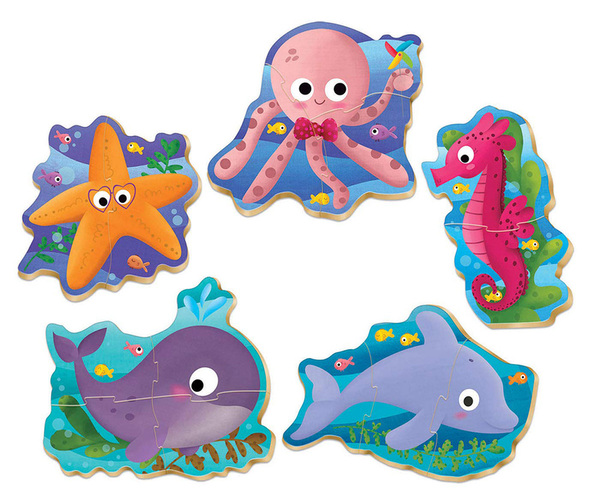 Бебешки пъзел Educa 5 в 1 - Морски животни