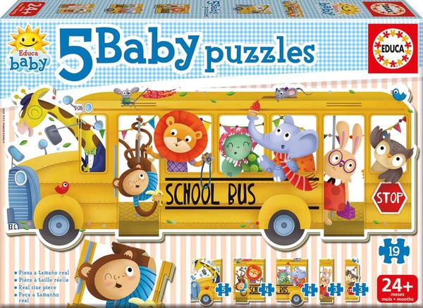 Детски пъзел 5 в 1 Educa - Автобус с животни