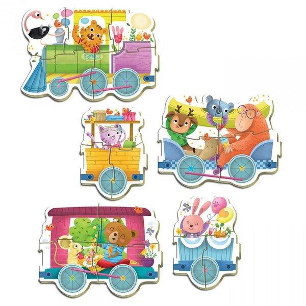 Детски пъзел 5 в 1 Educa - Влак с животни