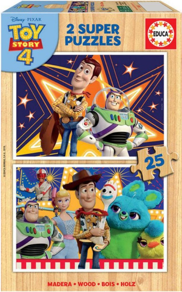 Пъзел от 2 x 25 части Educa - Уди и приятели, Играта на играчките 4