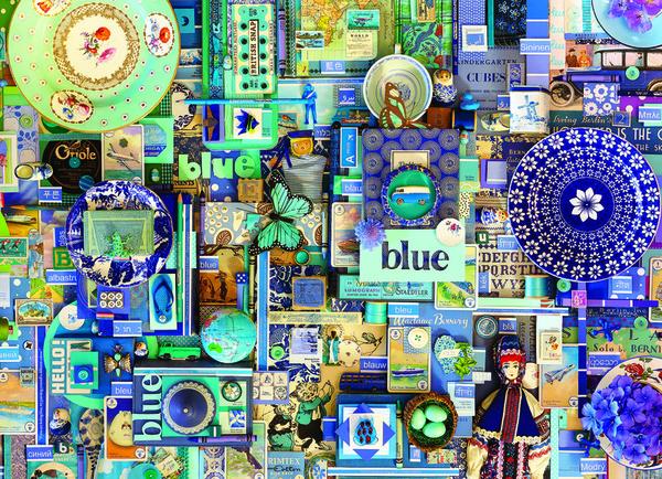 Пъзел Cobble Hill от 1000 части - Синьо, Шели Дейвис