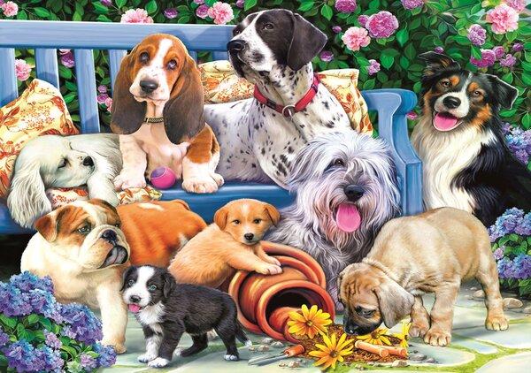 Пъзел Trefl от 1000 части - Кученца в градината, Даниела Пирола