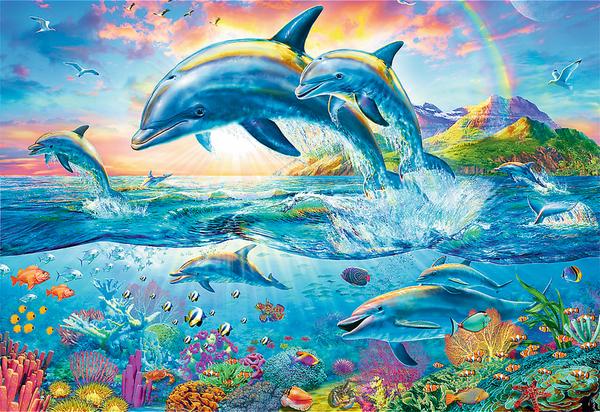 Пъзел Trefl от 1500 части - Семейство делфини
