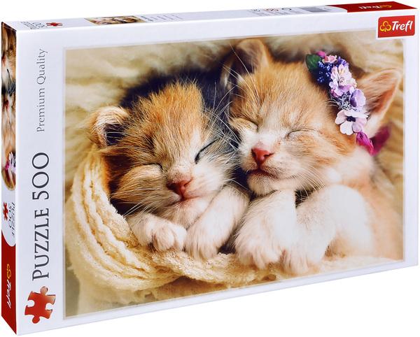 Пъзел Trefl от 500 части - Спящи котенца