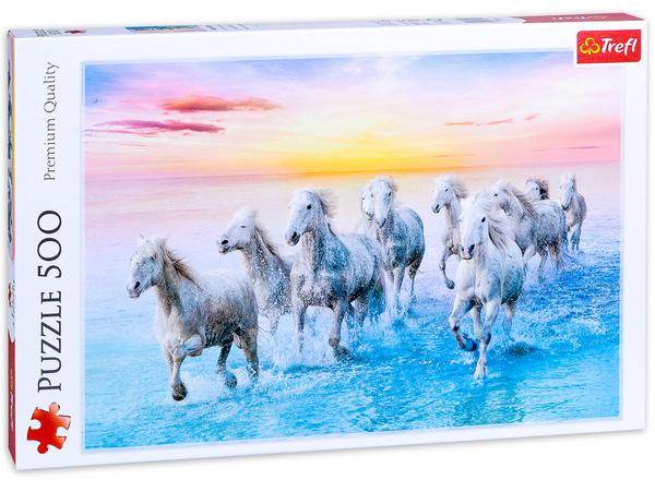 Пъзел Trefl от 500 части - Галопиращи бели коне