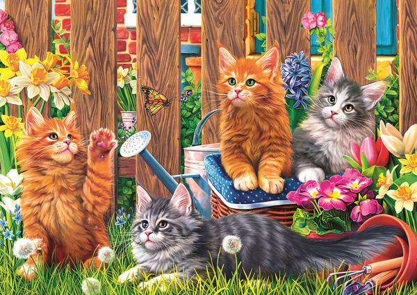 Пъзел Trefl от 500 части - Котки в градината