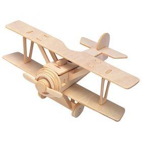 Дървен 3D пъзел Professor Puzzle - Самолет с боички
