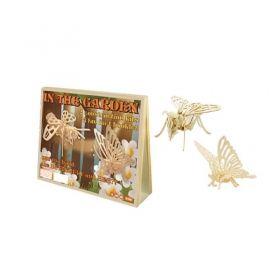 Дървен 3D пъзел Professor Puzzle, Пеперуда и пчела
