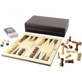 Комплект от игри 6 в 1 в тъмно кафява кожена кутия