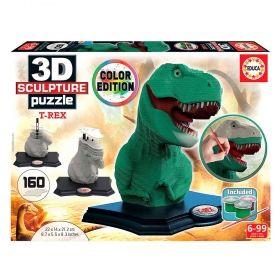 3D пъзел Educa - T-Rex, 160 части, с бои и четка