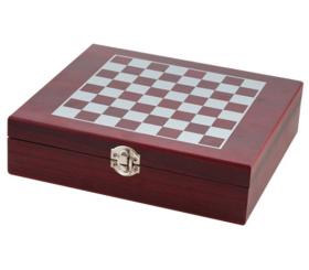 Комплект за покер и шах, дървена кутия, 23x25 см