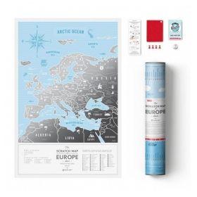 Географска Скреч Карта на Европа Silver