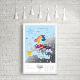 Географска Скреч Карта на Европа Silver 3