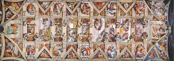Панорамен пъзел Clementoni от 1000 части - Сикстинска капела, Микеланджело