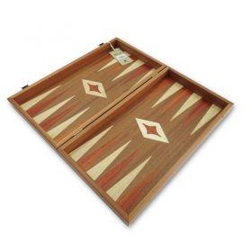 Комплект шах и табла Manopoulos - Махагон с червени кантове, 50x48 см