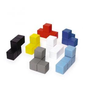 Пъзел куб Kikkerland - Block Cube, дървен