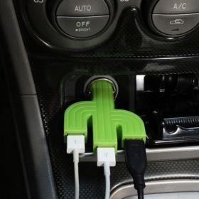 Зарядно Kikkerland - Cactus, от запалка на кола към 3x USB Type A