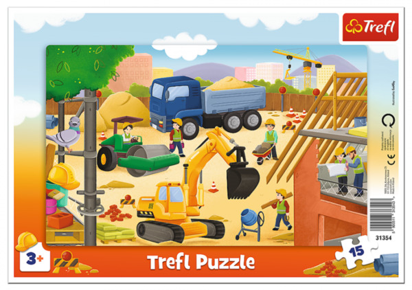 Пъзел Trefl от 15 части - На строителната площадка