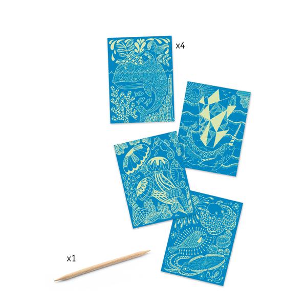 Djeco комплект скреч карти Sea life