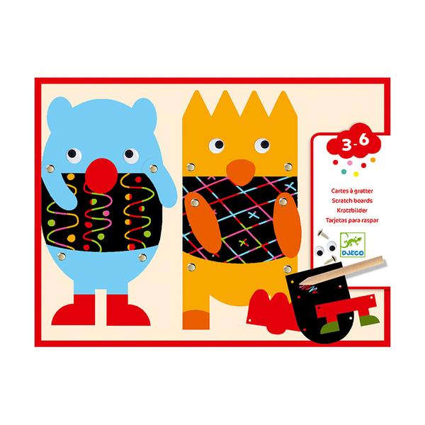 Djeco комплект скреч карти Little Monsters