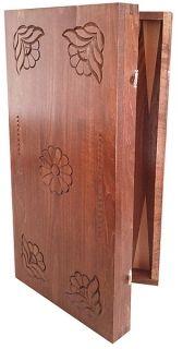 Кутия за табла с дърворезба Градина - ръчна изработка 48/48