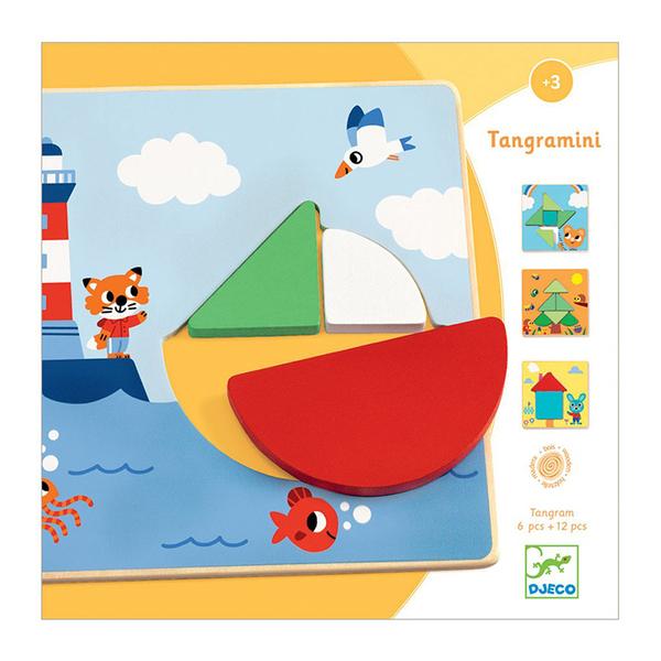 Djeco дървен пъзел Tangramini