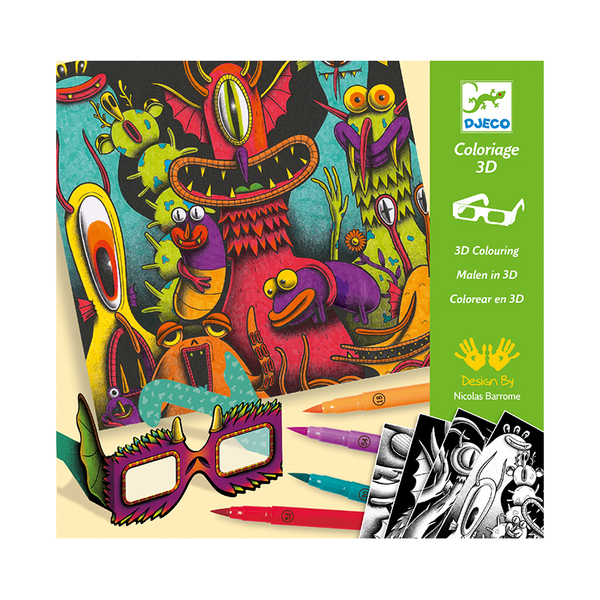 Djeco комплект за рисуване 3D funny freaks