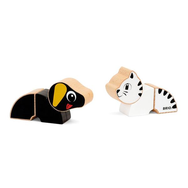 Brio магнитни кубчета за игра куче и коте