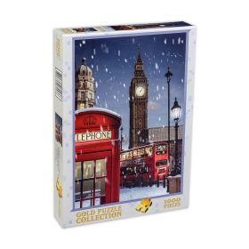 Пъзел от 1000 части Gold Puzzle - Лондон по Коледа