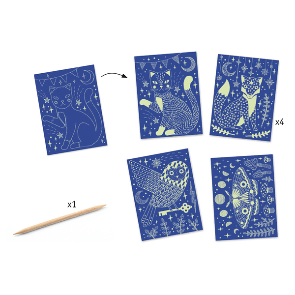 Djeco комплект скреч карти At night