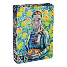 Пъзел от 1000 части Black Sea Puzzles - Мома с ябълки, Владимир Димитров Майстора