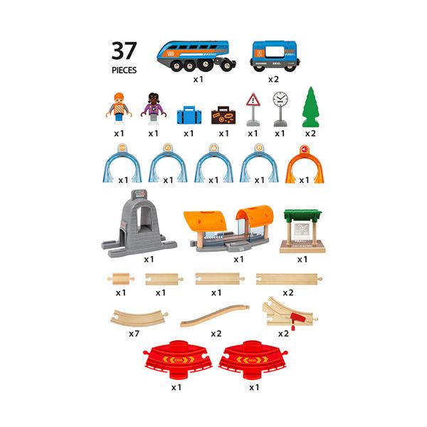 Brio комплект влакче и релси Action tunnel travel set