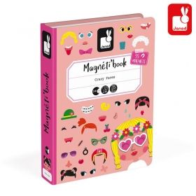 Магнитна книга, Магнитна образователна игра, Забавни момчешки лица, Janod