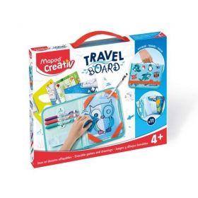 Творчески комплект Maped Travel Board - Папка за рисуване с животни, изтриваема