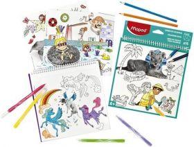 Книжка за оцветяване с игри Maped, 15 листа, различни видове