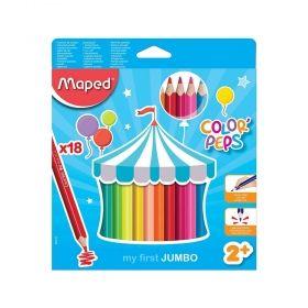 Комплект моливи Maped - Color' Peps First Jumbo, 18 броя цвята