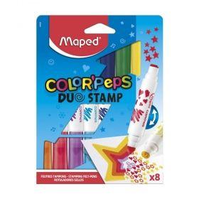 Комплект флумастери Maped - Color' Peps Duo Stamp, двойни, печат от едната страна, 10 броя/цвята