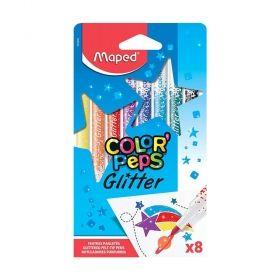 Комплект флумастери Maped - Color' Peps Glitter, блестящи, 8 броя/цвята