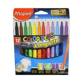 Комплект флумастери Maped - Color' Peps Long Life, 12 броя/цвята