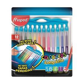 Комплект флумастери Maped - Color' Peps Long Life, панел с капачки, 12 броя/цвята