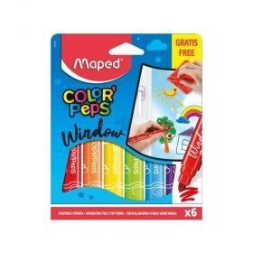 Комплект флумастери Maped - Color' Peps Window, с кърпа, 6 броя/цвята