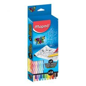 Комплект за рисуване Maped - Color' Peps, флумастери и постер, 18 броя/цвята