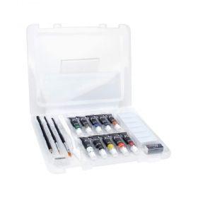 Комплект за рисуване Nassau - Aquarel Art Set, бои, четки, молив, гума и острилка
