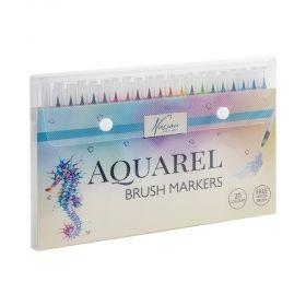 Комплект маркери Nassau - Aquarel Brush Set, акварелни, мек връх, 20 броя/цвята