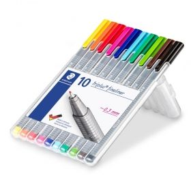 Комплект тънкописци Staedtler 334, 10 цвята в кутия