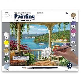 Комплект за рисуване с акрилни бои Royal & Langnickel - Веранда към езерото 39х30 см